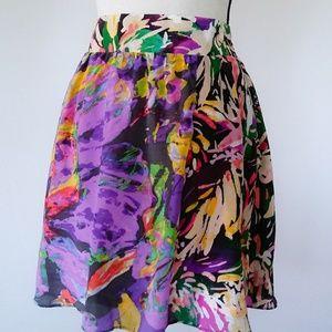 Maeve Womens Floral Watercolor Print Skirt Silk